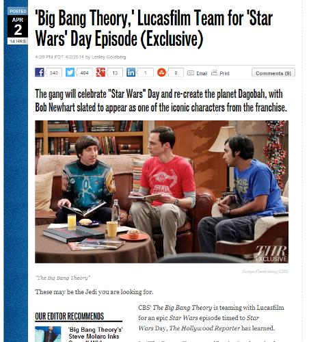 Industrial Light And Magic News: The Big Bang Theory にまたまたStar Warsが!